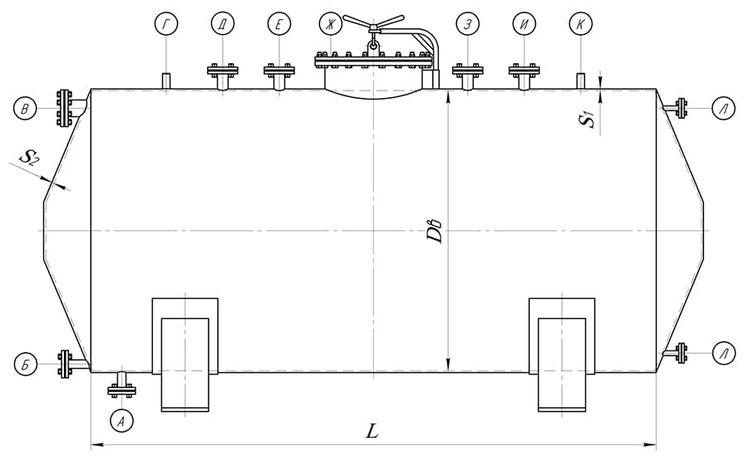 Сосуд с коническими боковинами (чертеж)