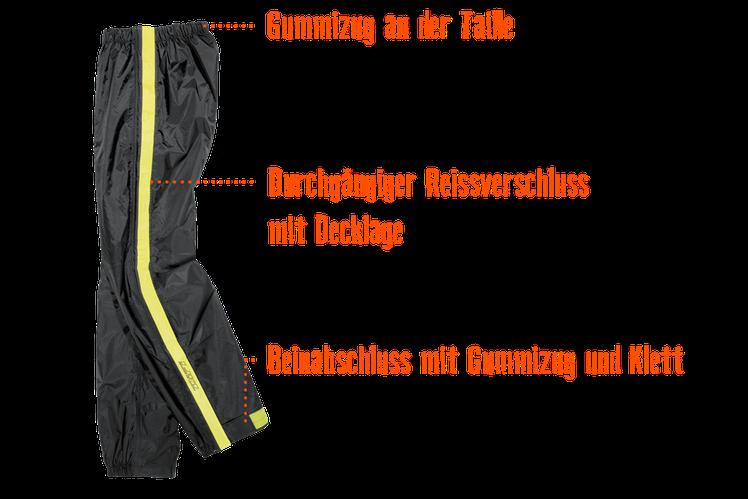 Ausstattungsübersicht Difi Zip Motorrad Regenhose