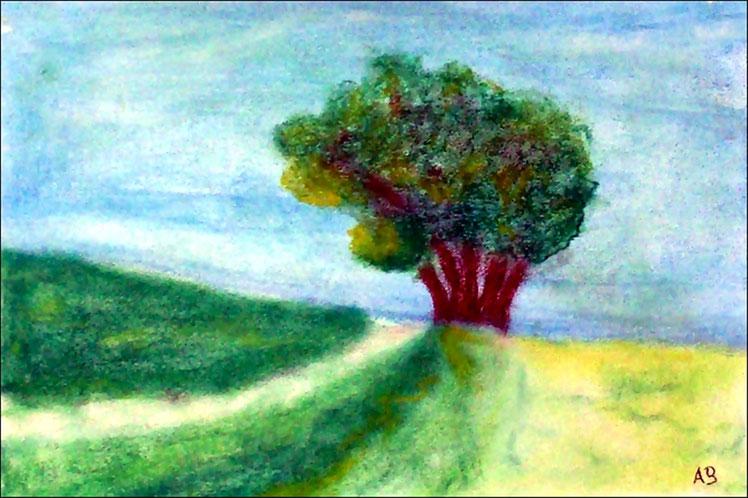 Bergpfad, Pastellgemälde, Bäume, Gras, Wiese, Natur, Feld, Weg, Hügel, Landschaftsbild, Sommer, Pastellmalerei, Pastellbild