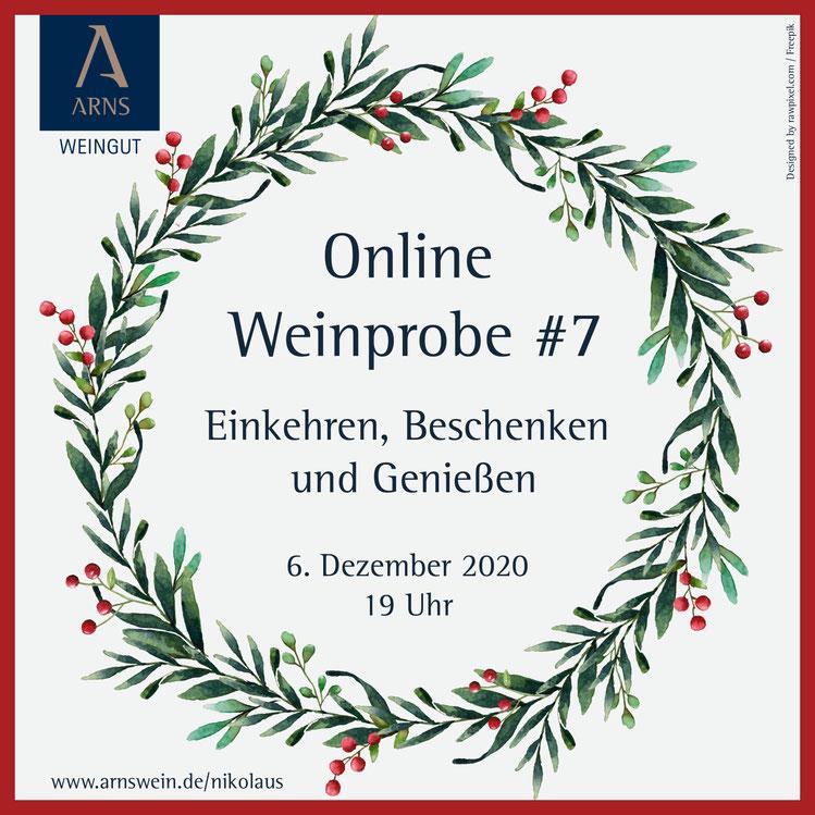 Flyer zur Online Weinprobe #7 im Weingut Arns