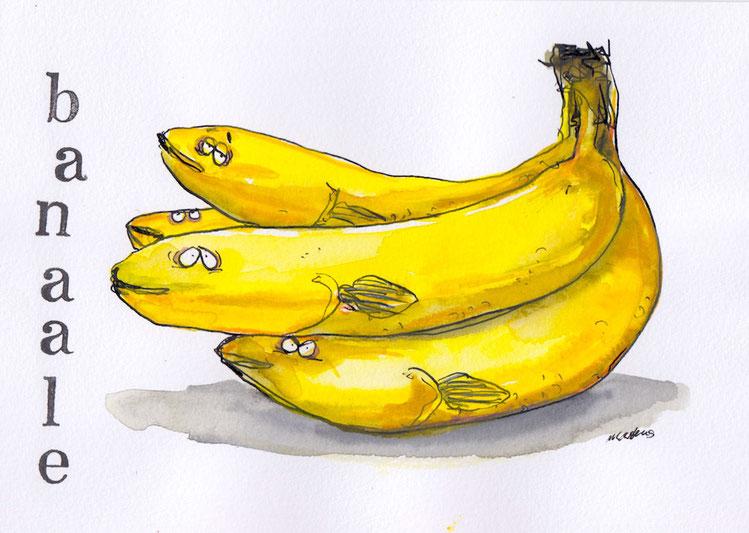 Eine Kreuzung aus Bananen und Aalen nennt man Banaale.