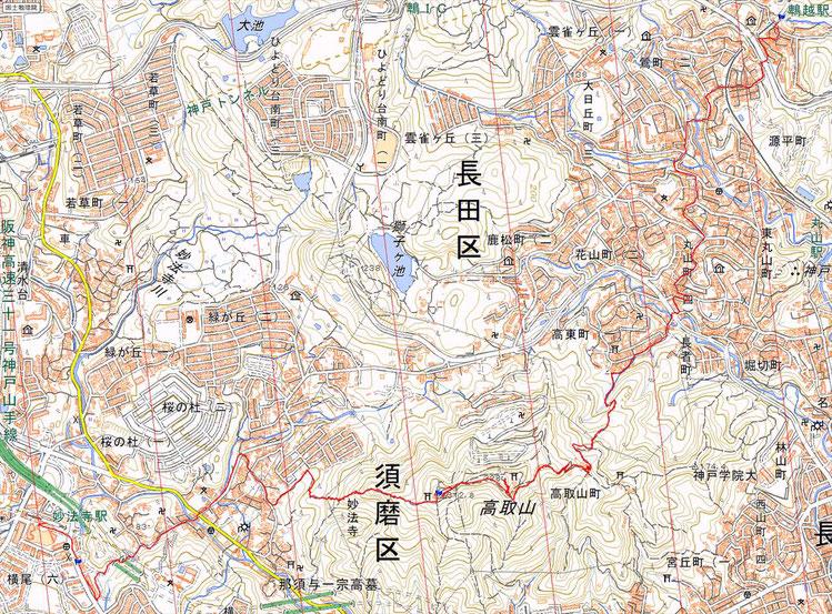 六甲山縦走 妙法寺~鵯越 ルート図