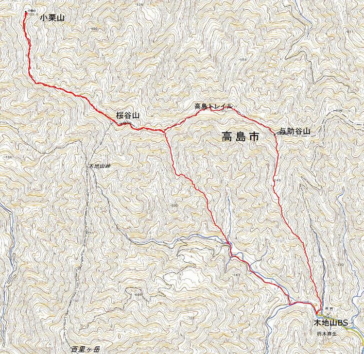小栗山(722.9m) (桜谷山より北西方向のピーク)