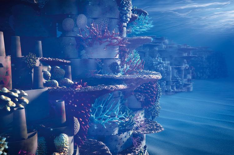 Rendering des Riffes, wie es mit dem Baukastensystem konstruiert wird.