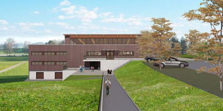 Aussenansicht der geplanten Dreifachhalle. Bild: Medienmitteilung Gemeinderat Gossau ZH