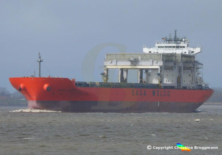 Mehrzweckfrachter SAGA FJORD, Elbe 11.03.2019