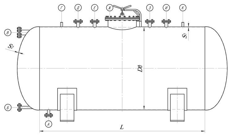 Сосуд с эллиптическими боковинами (чертеж)