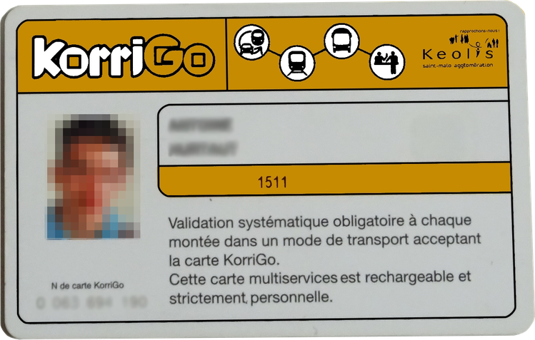 Vue d'artiste des cartes KorriGo qui seront émises par le réseau KSMA à compter de 2018.