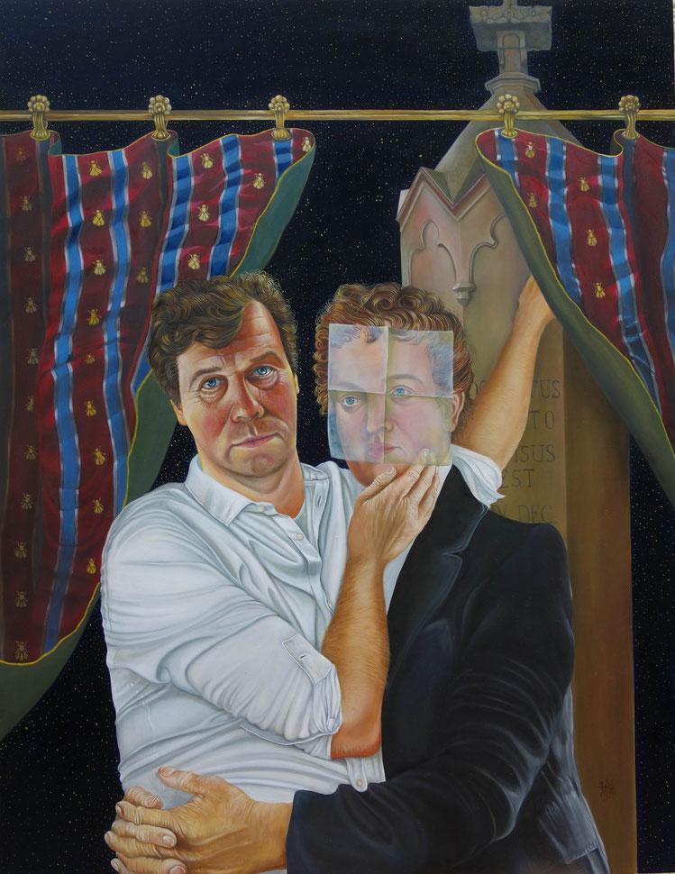 Während der intensiven Arbeit an dem Kaspar-Hauser-Triptychon erwächst in Udo Winkler ein weiterer Impuls. Es formt sich in ihm die Bildidee, Kaspar Hauser in Beziehung sezten zu wollen zu Eckart Böhmer. Bei einem langen Fachgespräc