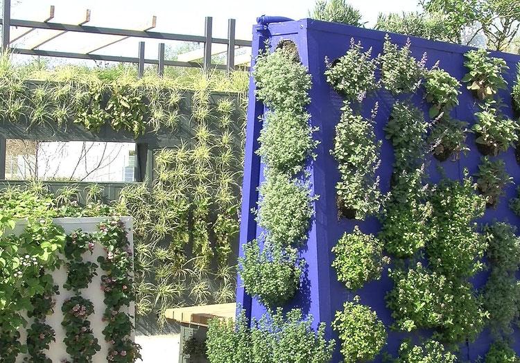 Diese trapezförmigen Elemente zur Wandbegrünung können überall, auch auf dem Balkon aufgestellt werden.