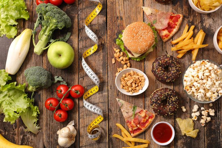 Gesund und ungesunde Lebensmittel