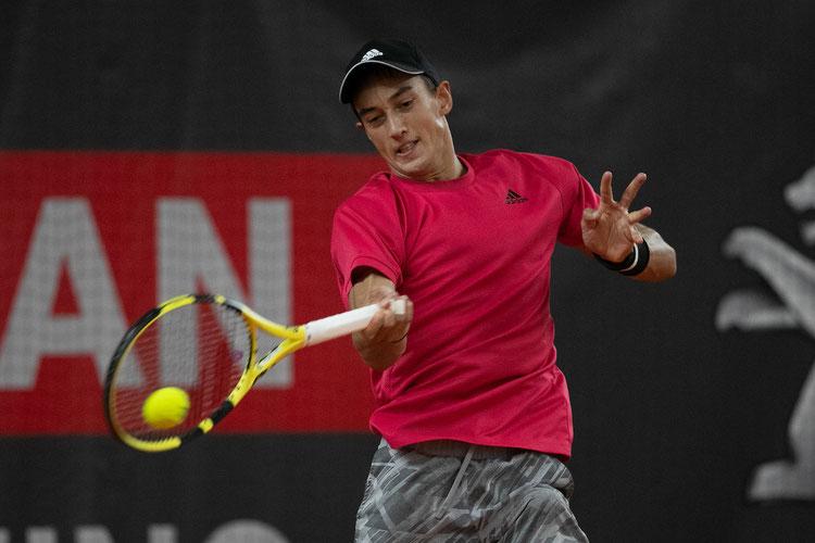 "Antoine Hoang bezwang im ""Match of the day"" den TennisBase-Profi Maximilian Marterer; Foto: Jürgen Hasenkopf"