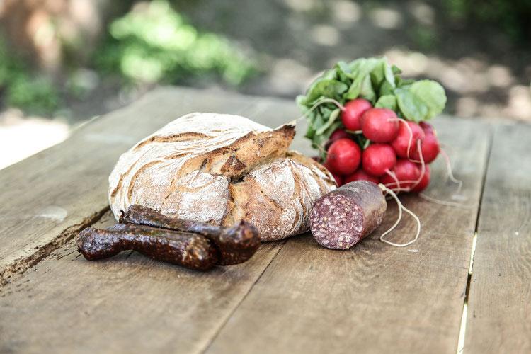 Wurst Radieschen und Bahde Brot auf altem Holztisch im Oher Hofladen für feine Kost am Rande von Hamburg