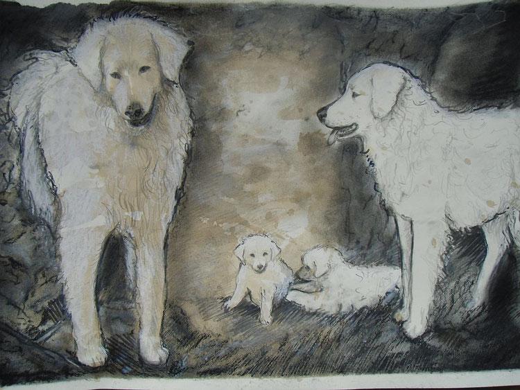 Hundefamilie mit Nachwuchs