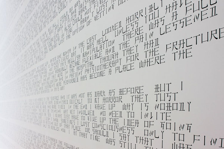 CNJPUS TEXT / 2011 / 12.6 x 4.5 m / colored PVC sheet on wall / Towada Art Center