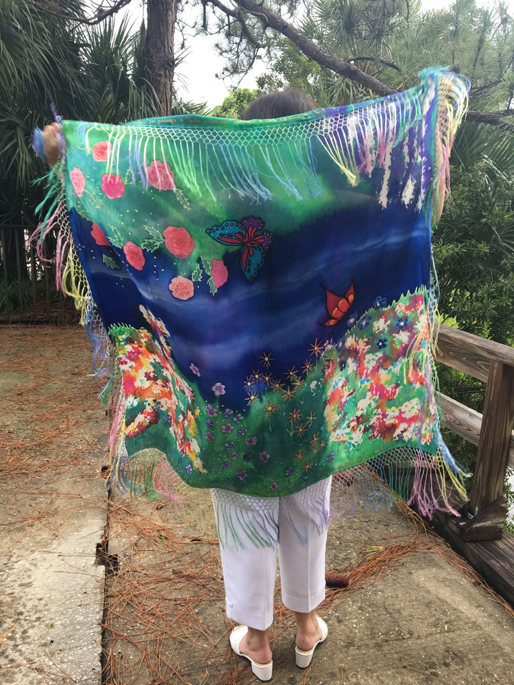 Prayer Shawl with a beautiful garden, river and butterflies