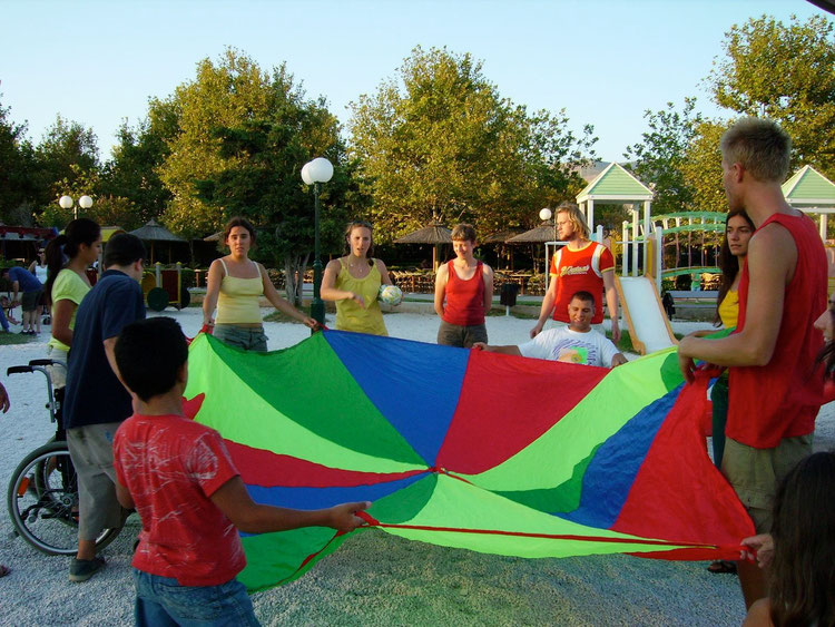 Glyfada, Greece, august 2007. Games with kids with and without disability.