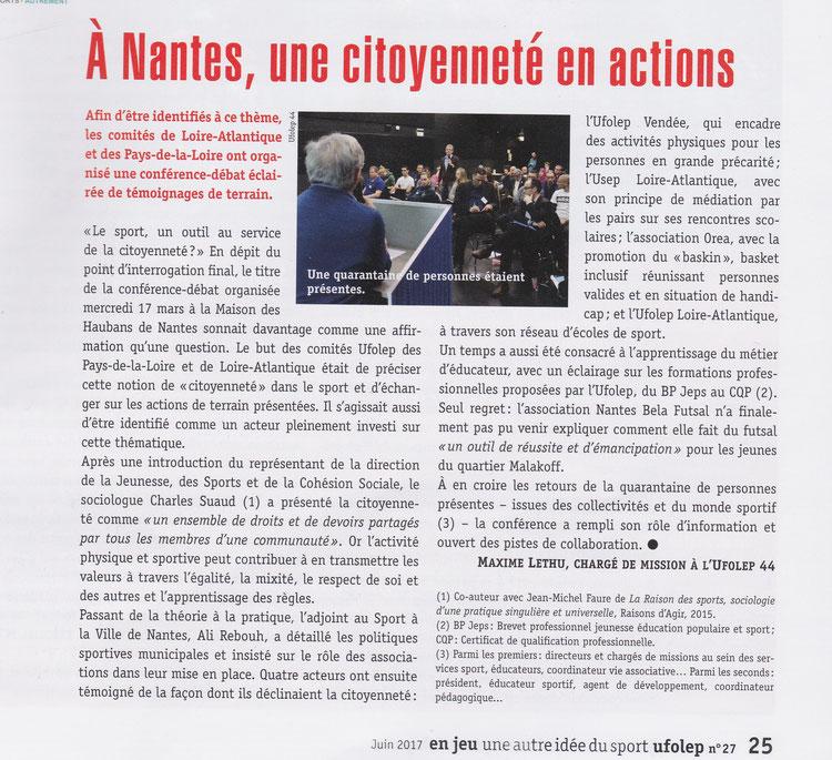 Le sport un outil au service de la citoyenneté ? L'association OREA avce la promotion du Baskin était présente et a participé à cette conférence.