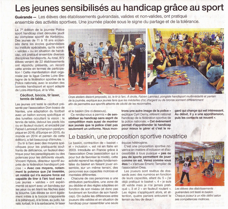Article sur la journée Police sport handicap de Guérande, octobre 2017.  Dont initiation au baskin.