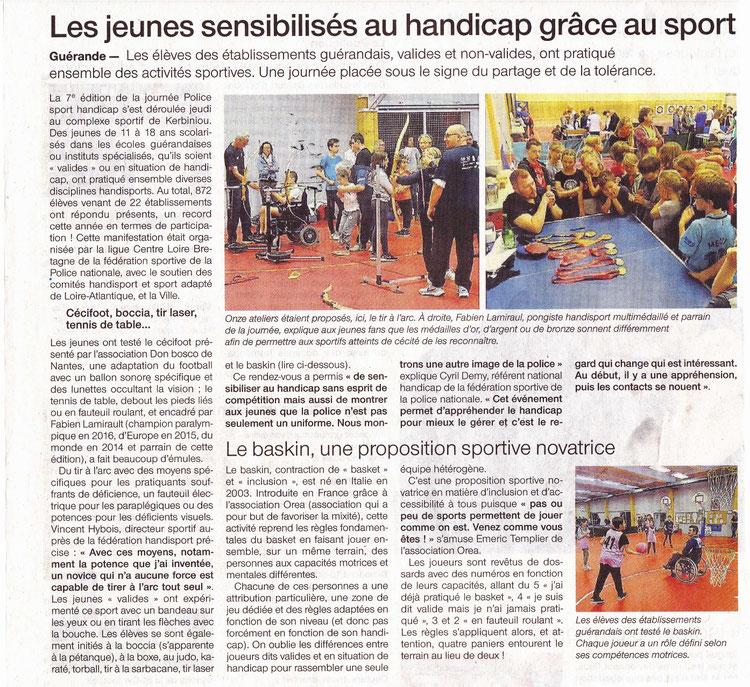 Article sur la journée Police sport handicap de Guérande, octobre 2017.  Dont initiation au baskin.