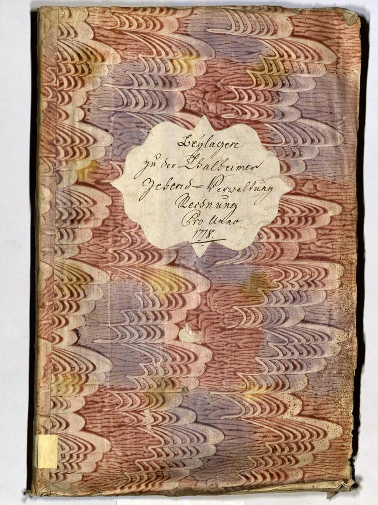 Kleisterpapier mit Verdrängungsdekor, Quelle: Archivverband Main-Tauber, Signatur: StAWt - RR66 1778, )*