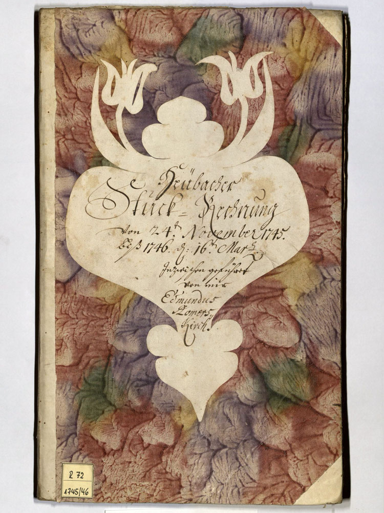 Kleisterpapier mit Verdrängungsdekor, Quelle: Archivverbund Main-Tauber, Signatur: StAWt - RR72 1745/46  )*