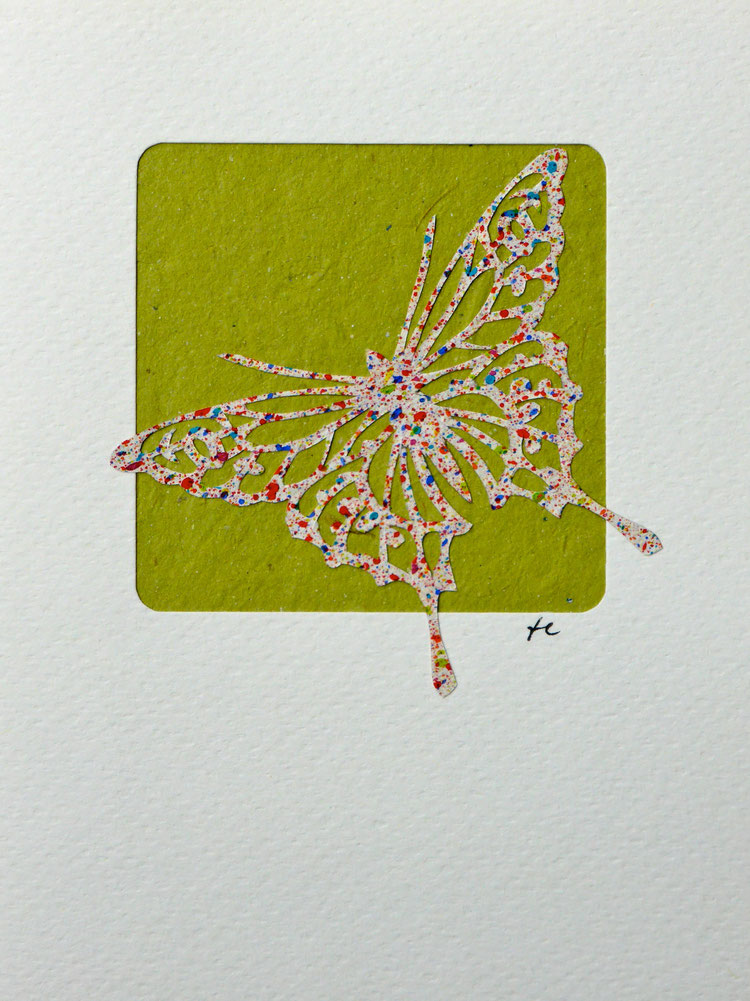 Scherenschnitt aus Sprenkelpapier der Buntpapier-Manufaktur: K. Köppel, 2014