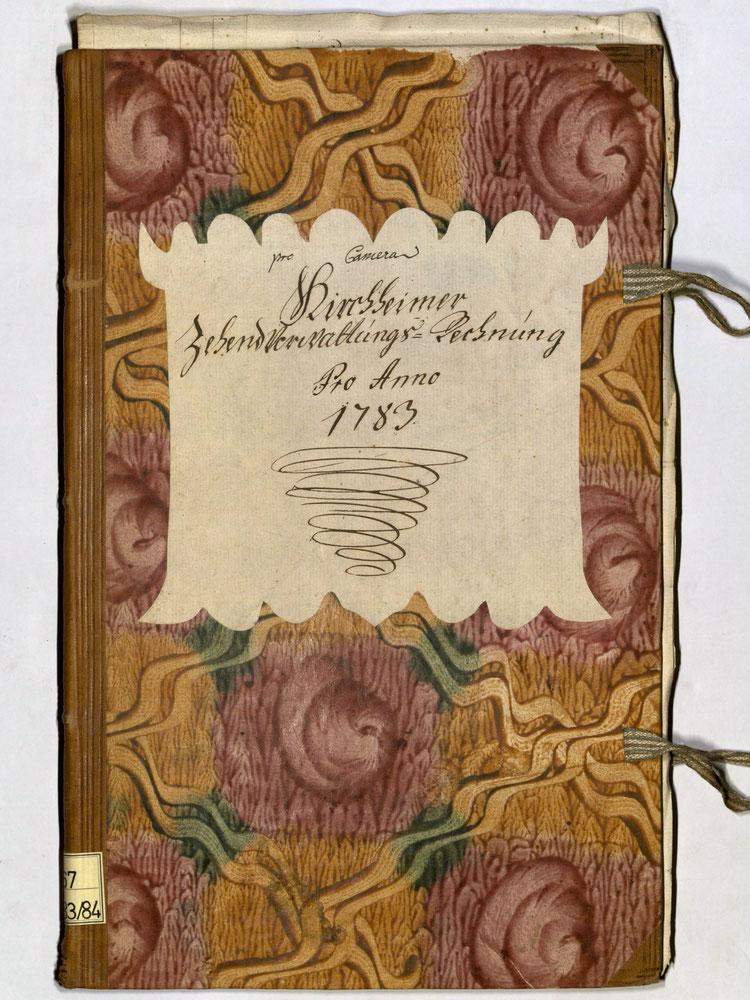 Kleisterpapier mit Verdrängungsdekor, Quelle: Archivverbund Main-Tauber, Signatur: StAWt - RR 67 1783/84  )*