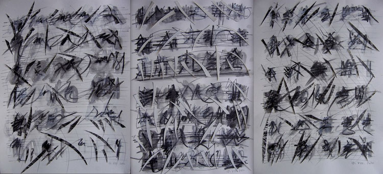 prades 2011  /  composition in three movements  triptych  ink pencil drawings and paper cut     45 x 90 cm