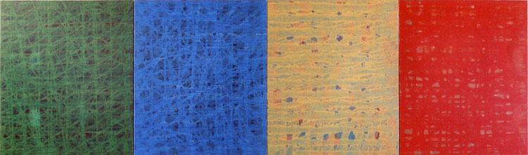 川辺に近づく道     キャンバスに油彩  72.7×242.2cm(F20号×4)