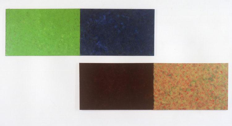 水場P.10(M川〜栗の木の下.Ⅰ)キャンバスに油彩  72.7×233.4㎝  水場P.11(M川〜栗の木の下.Ⅱ)キャンバスに油彩  72.7×233.4㎝   各M50号×2