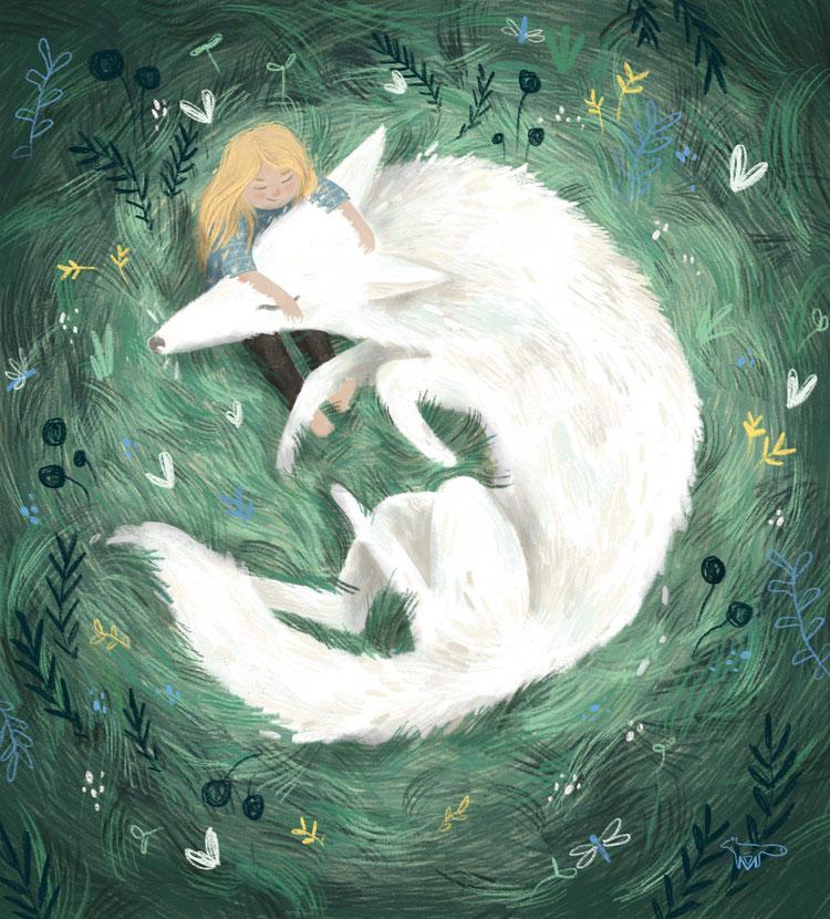 Mareike Ammersken lllustration Wolf Hund Freundschaft