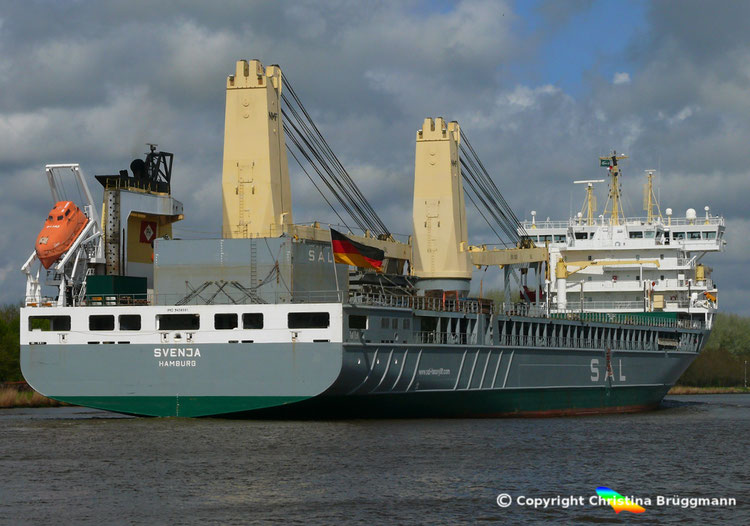 "SAL Heavy Lift Ship ""SVENJA"" auf dem Nord-Ostsee-Kanal, 26.04.2018"