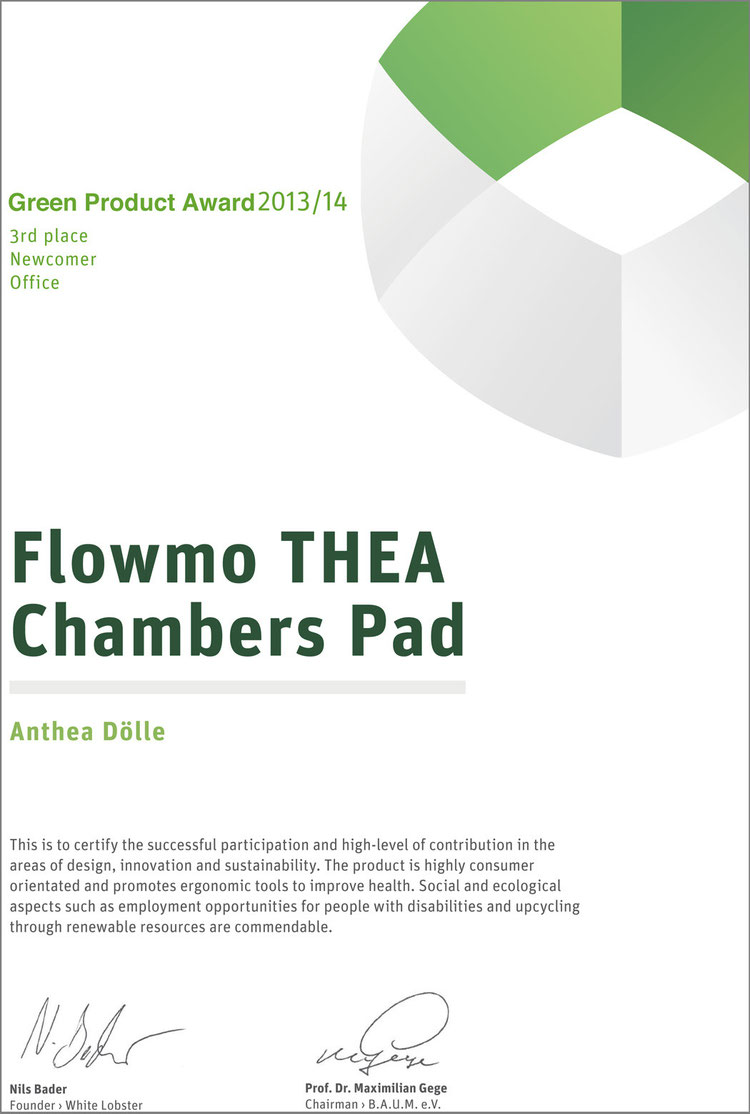 Urkunde Flowmo THEA Chambers Pad 3rd Newcomer Green Product Award 13/14