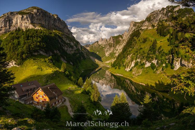 Bollenwees, Fählensee, Marcel Schiegg, Fälensee, Berggasthaus, Bergsee, Alpstein, Appenzell, Appenzellerland, Panorama, Spiegelung