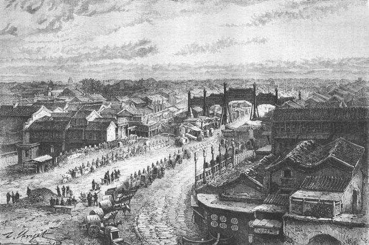 Le pont des Mendiants, dans la ville chinoise