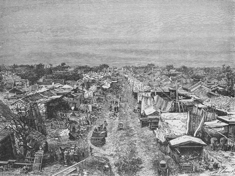 Grande rue Hata-mène-ta-kié., d'après une photographie du docteur Morache.