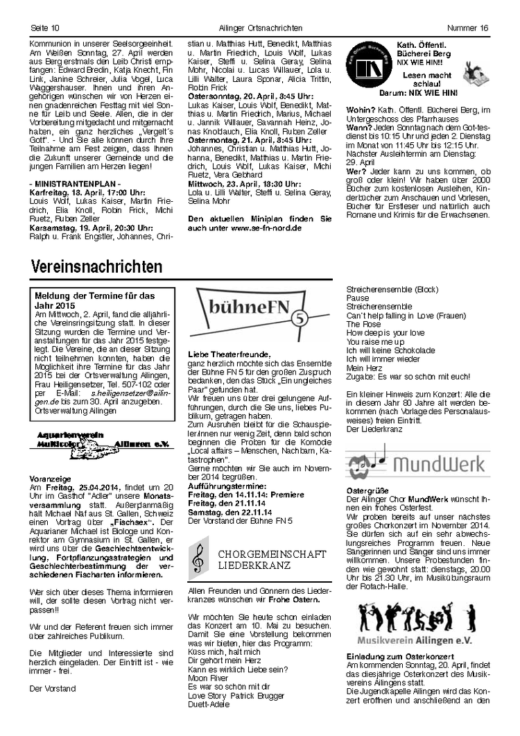 Ortsnachrichten vom 17. April 2014