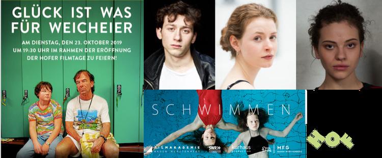 """Filmplakat """"Glück ist was für Weicheier"""", Adrian Ernst © Benedikt Stehle, Nadja Sabersky ©, Emma Preisendanz © Thomas Kilper, Filmplakat """"Schwimmen"""" ©, Festspiele Hof"""