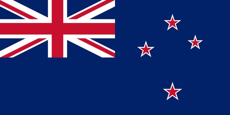 """Blau, rot und weiss ist die Flagge von Neuseeland. Sie hat vier Sterne des Sternzeichens """"Kreuz des Südens"""" und links-oben den Union-Jack."""
