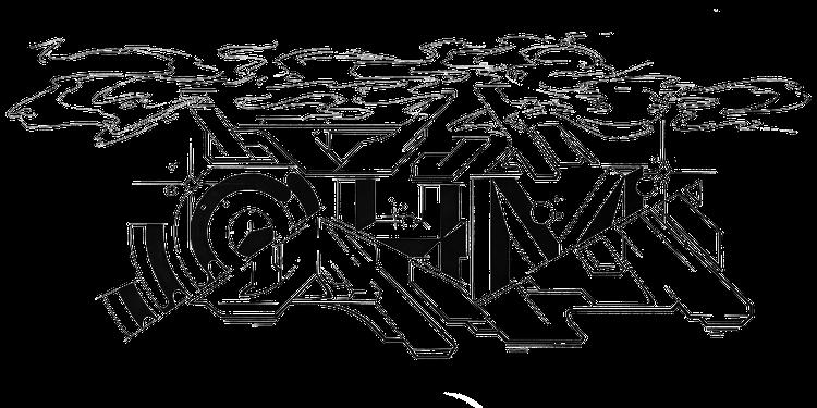 Eine schwarzer Entwurf auf einem weißen Hintergrund. Man sieht einen Graffiti Schriftzug der zerschnitten ist, an den freien Stellen blitzen solide Buchstaben durch. Es steht dort OHM, in großen Buchstaben.