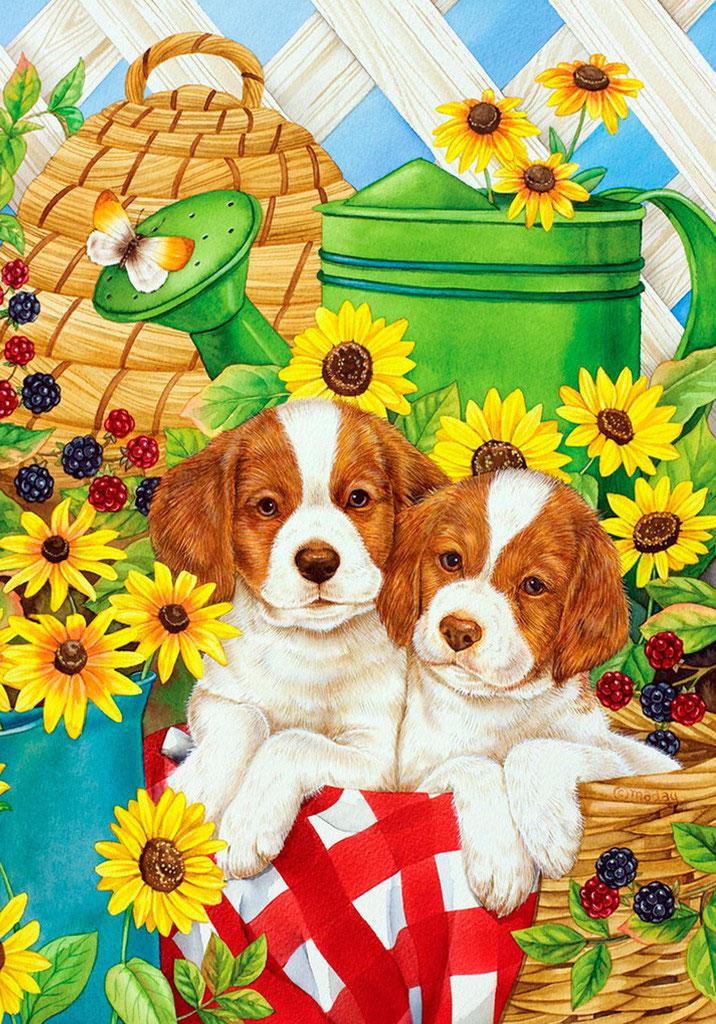 Собачка с цветами картинки для детей