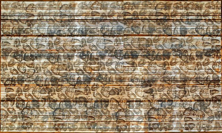 o.T. 2008,  Lehm, Eisen, Acryl,Serigraphie auf Leinwand, 255cmx155cm