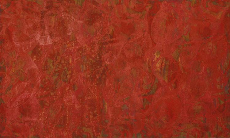 o.T. 2008,  Eisen, Oxyd, Acryl, Serigraphie auf Leinwand, 255cmx155cm
