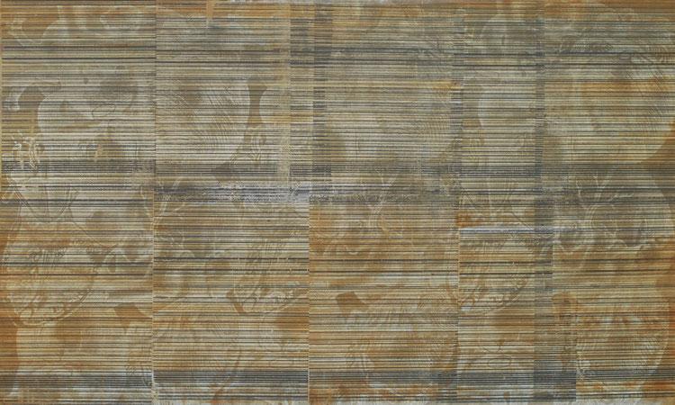 o.T. 2008, Acryl, Beton, Eisen auf Leinwand, Serigrahie, 255cmx155cm