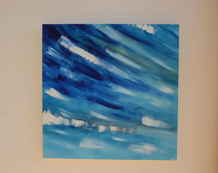 Titel: Vrij in blauw en wit, 100 x 100 cm, Katoen op aluminium frame. Acryl, mat gelakt. Februari 2019. Prijs € 700,-