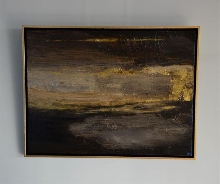 Titel: Vloedgolf, 60 x 80 cm, Acryl op linnen, zijdeglans vernis. Januari 2020. Prijs € 700,-.