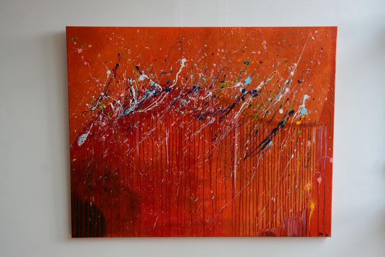 Titel: Reflections 4, 150 x 120 cm, Acryl op katoen. Februari 2019. Prijs € 1100,-