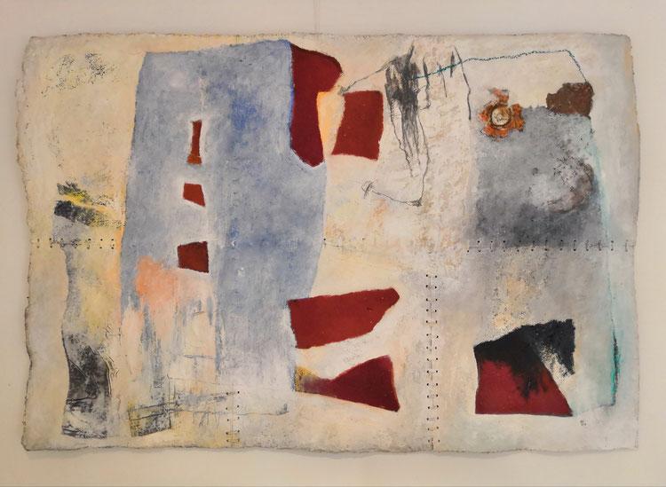"""Sans titre série"""" PAPIERS FAIT MAIN """"Format : 98 cm x 148 cm. cuire,tissus,métal,acrylique, huile,sur papier artisanal."""