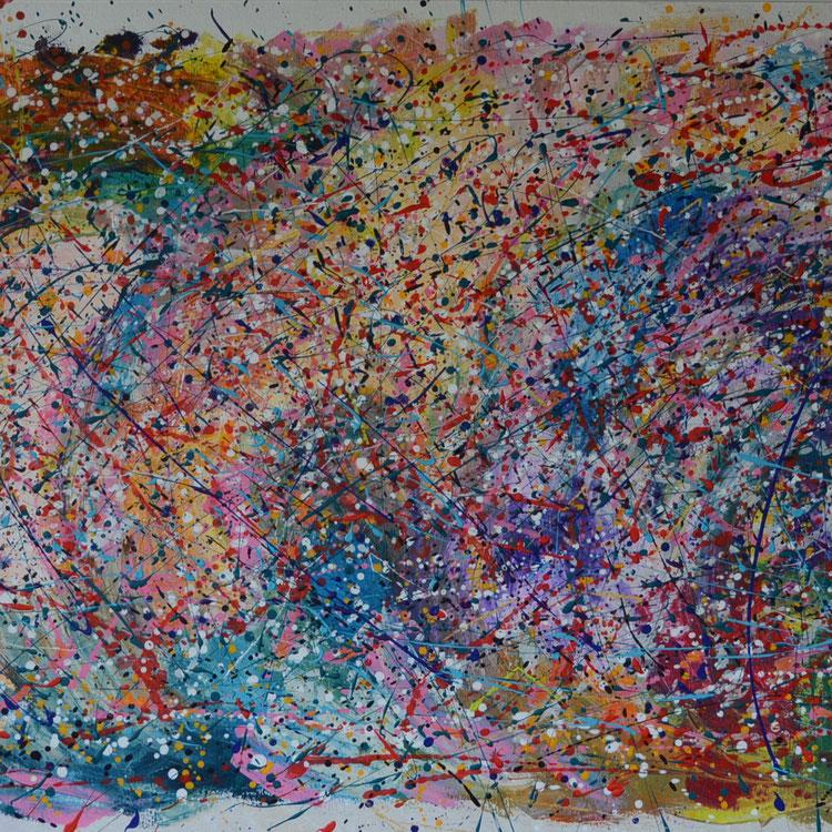 Titel: Happy Wall, 100 x 200 cm, acryl op linnen (aluframe), december 2019. VERKOCHT/SOLD